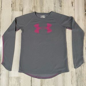 Under Armour girls grey thermal with pink trim